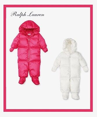 Ralph Lauren Infant Channel Quilted Down Bunting Snowsuit Pink Or White Nwt $165