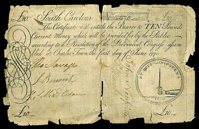 June 1, 1775 South Carolina 10 Pounds Colonial Currency Note -Sc 99