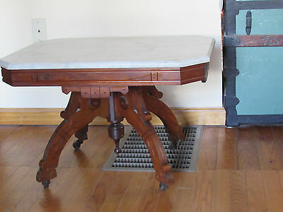Antique Eastlake Victorian Walnut Marble Top Coffee / Cocktail Table