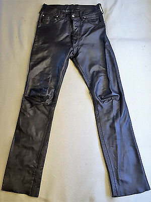 Vintage Rubio Leather New York Black Pants Mens Size 34 Button Fly Fitted