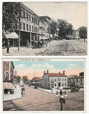 LOT - 5 Postcards - Waterloo NY Main Street First National Bank Erie Canal 1909-