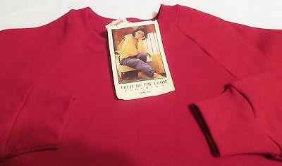 FRUIT OF THE LOOM Vintage 90's Womens Sweatshirt L/Large Dark Pink Made in USA