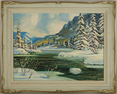 Vintage Canadian Original Oil Laurentian Landscape Quebec Illegibly Signed