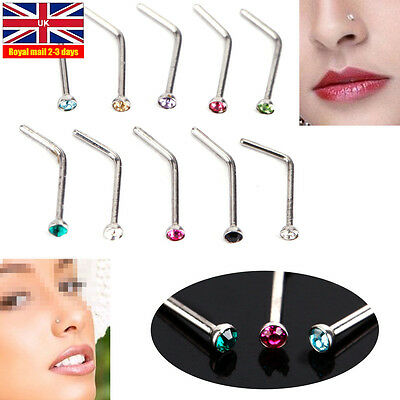 10 Pcs Surgical Steel Small Gem Crystal Screw Nose Stud Ring Body Piercing *UK*