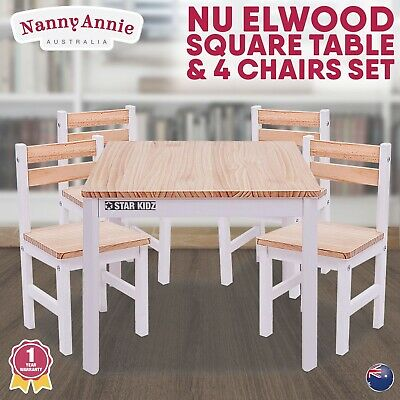 Nu Elwood Square Table & 4 Chairs Set -  Inverted White