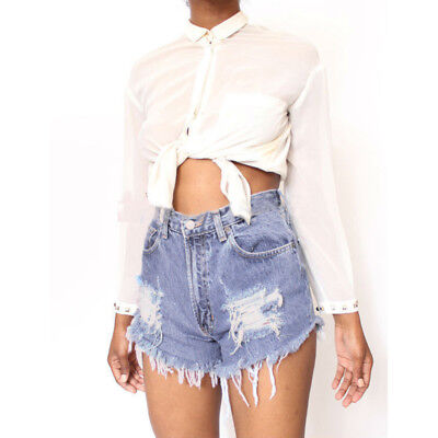 Women High Waisted Short Jeans Ripped Denim Pant Summer Shorts Hot Pants Fashion