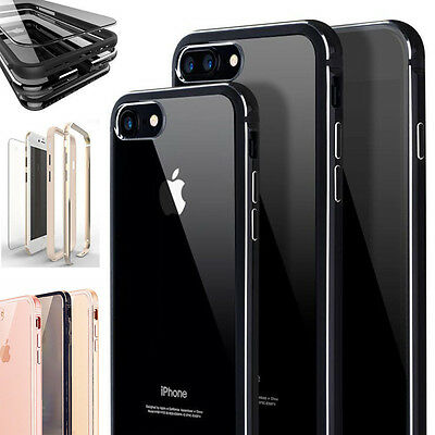 For iPhone 8 7/7 Plus Shockproof Thin Clear Back Metallic Bumper Hard Case Cover