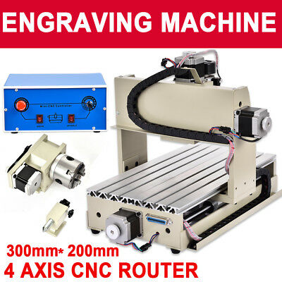 4Axis CNC ROUTER ENGRAVER Drilling Milling Machine 3D Cutter 3020 300W ENGRAVING