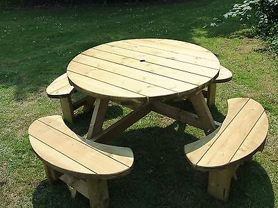 Round picnic table, pub bench, 8 seater Winchester WRB38G, 38mm treated timber