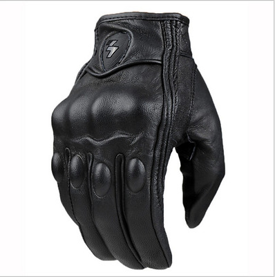 Top  Guantes Fashion real Leather Full Finger Black moto men Motorcycle Gloves
