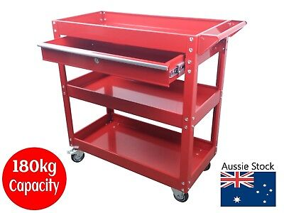TOOL TROLLEY with DRAWER TOOLBOX TOOL BOX CHEST RED CABINET LOCK TRADESMAN NEW