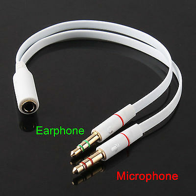 Stereo Audio Mic Splitter Cable | Headset Adapter | 3.5mm Female to 2 Male Plugs