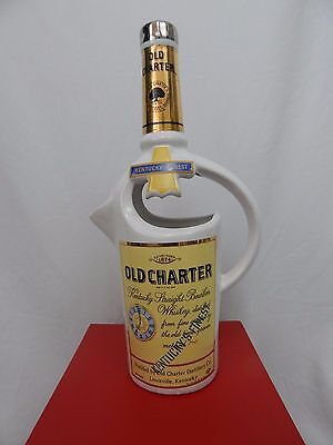 Vtg 1971 Old Charter Kentucky Bourbon Ceramic Pitcher Hand Made In Italy Bar