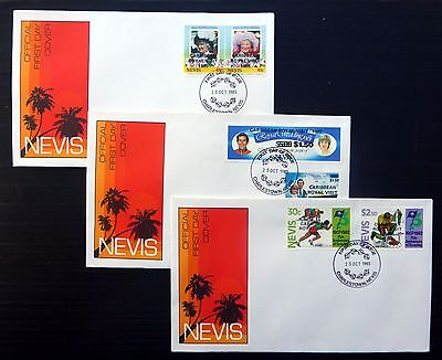NEVIS 1985 Royal Visit Official FDC's  (3) inc. Scouts, Only 200 Produced NB278