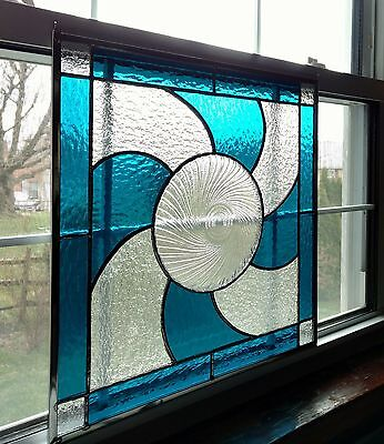 "Stained Glass Window Panel with Vintage Plate, 17 1/2"" x 17 1/2"", Blue and Clear"