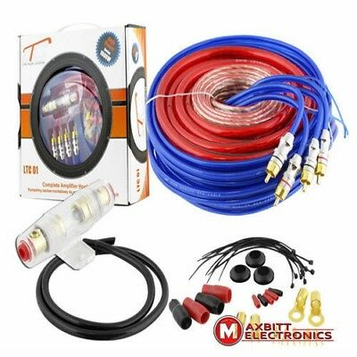 1000w Wiring Car Amplifier RCA Audio 8 Gauge 60amp AGU Fuse Cable Kit Gold Earth