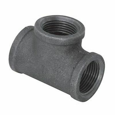 "2"" Black Malleable Iron Tee 3-Way Plumbing Fitting Pipe Npt"