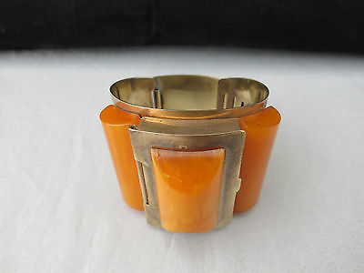 Rare Original Art Deco Bakelite Bangle Bracelet with Concealed Powder Compact