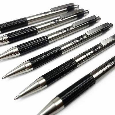 Zebra F-301 - Stainless Steel Retractable Ballpoint Pen - Black Ink - Pack of 6