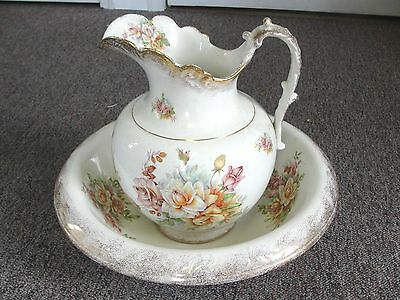 Victorian Semi-Vitreous Porcelain K T K Pitcher & Basin Bowl LG Vintage Antique