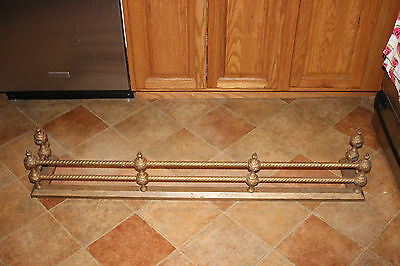 Antique Victorian Style Fireplace Skirt Surround-Braided Metal Rods-Large-Brass
