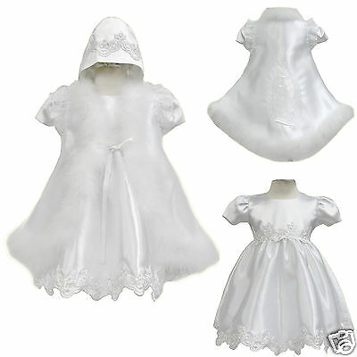 Baby Girl Toddler Christening Baptism Formal Dress Faux Fur Gown 0M-30 M white