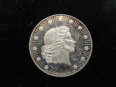 1981 World Wide Mint 1 Ozt .999 Silver Proof Round
