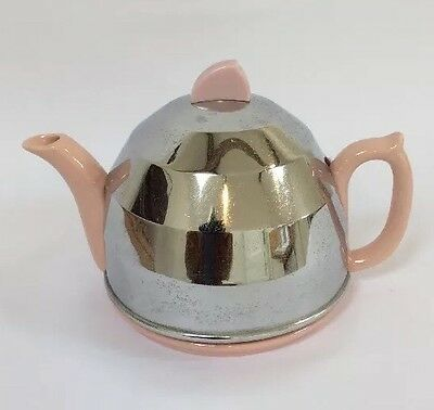 Vintage Art Deco insulated pink teapot tea pot chrome cover felt liner Authentic