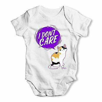 Twisted Envy I Don't Care Cat Baby Unisex Funny Baby Grow Bodysuit