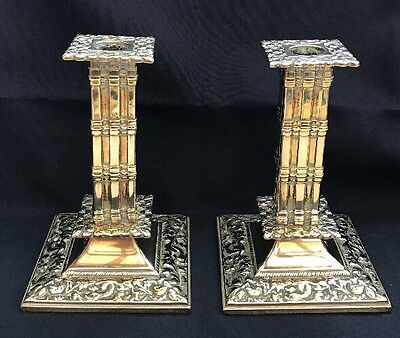 Vintage / Antique Brass Square Column Pair Of Candlestick Holders