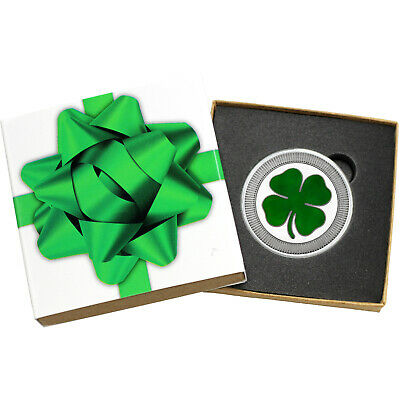 Four Leaf Clover Stackables 1oz .999 Silver Medallion Enameled (Green Bow Box)