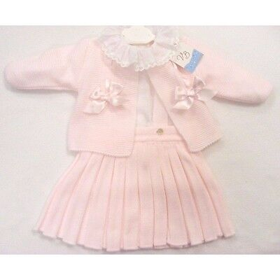 Romany Style Spanish Outfit Pink Bow Cardigan Strap Skirt & Blouse VB by Juliana
