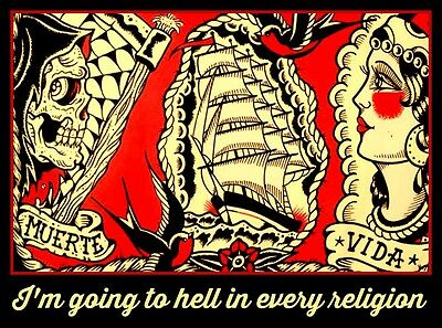 "3.25x2.5"" Vintage tattoo flash sticker. Funny, ""going to hell in every religion"""
