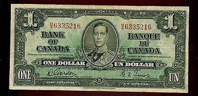 1937 Bank of Canada $1 Dollar Note Rare H/A Prefix BC-21b #99174 R