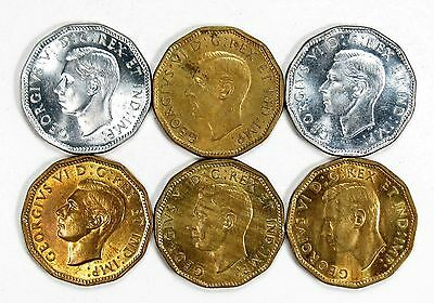 Lot of 6 Canada Tombac & Steel Plated 5c Five Cents AU+ - BU #99204 R