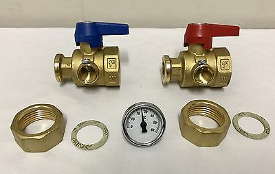 "Underfloor Heating Isolation Valves 1"" With 1 Thermometer Ball valve set (PAIR)"