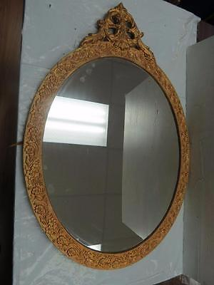 Vintage Wood Antique Gold Tone Finish Oval Mirror #1463