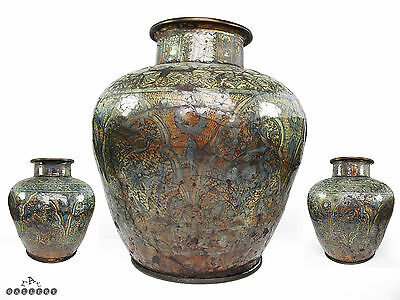 Large Antique Islamic / Persian Bronze Mounted Blue & White Glazed Pottery Vase