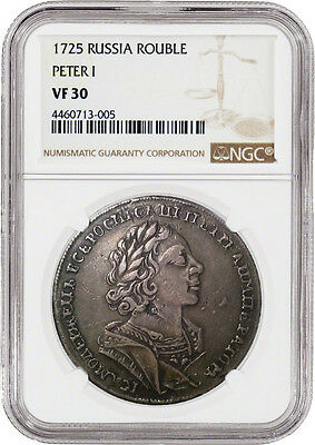 1725 Russia Rouble Peter I NGC VF30