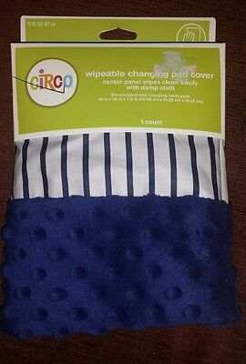 CIRCO Blue Striped Wipeable Changing Pad Cover New Minky Dot