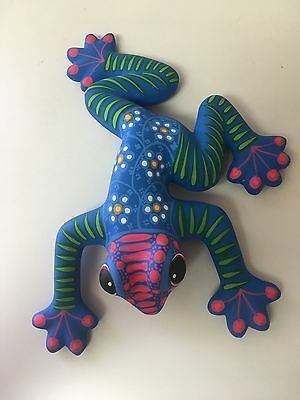 """Hand Painted Large Ceramic Frogs , Made In Mexico , One Of A Kind ,10.5"""" X 8"""" #2"""