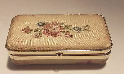 Lovely antique fabric covered embroidered pill box