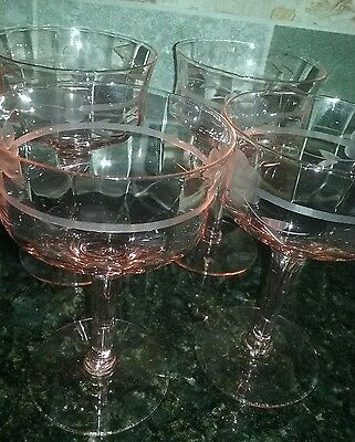 4 Art Deco PINK Etched COCKTAIL STEMS Goblets Central Glass Elegant Depression