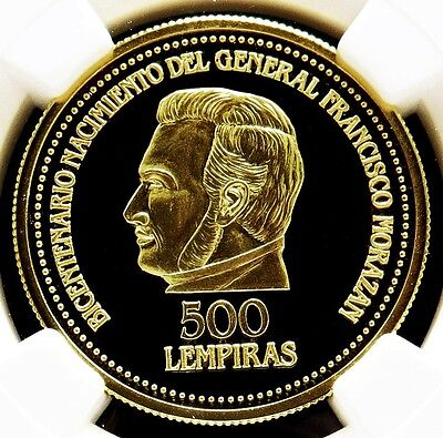 1992 Gold Honduras 500 Lempiras General Francisco Morazan Coin Ngc Proof 69 Uc