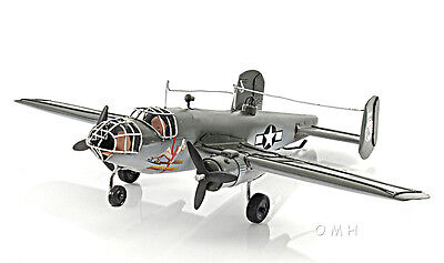 "B-25 Mitchell Bomber Metal Desk Model 13"" WWII Airplane Office Hanging Decor New"
