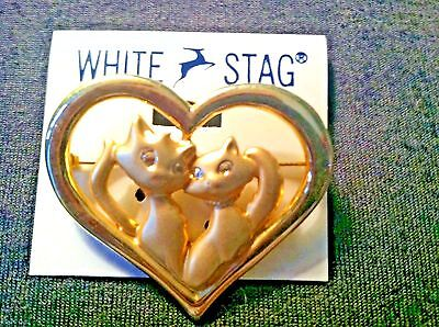 White Stag Goldtone Pin/brooch - Two Cats Inside Heart