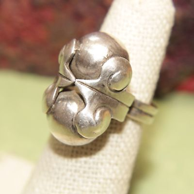 Vintage Mexico Designer Mod Double Ball Sterling Silver 925 Ring Sz 5 - 8g