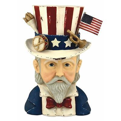 """Bethany Lowe USA Uncle Sam Patriotic Americana Container, 8.5"""" x 5.5"""""""