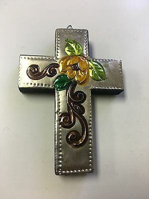 "Hand Made Punched Tin Art , Mini Cross , Hand Painted , Gifts ,4.5"" X 3"" ,Yellow"