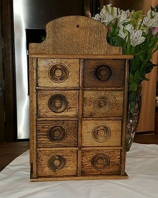 Antique 8 Drawer Stenciled Wood Wall Spice Apothecary Cabinet 1800's